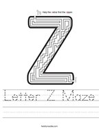 Letter Z Maze Handwriting Sheet