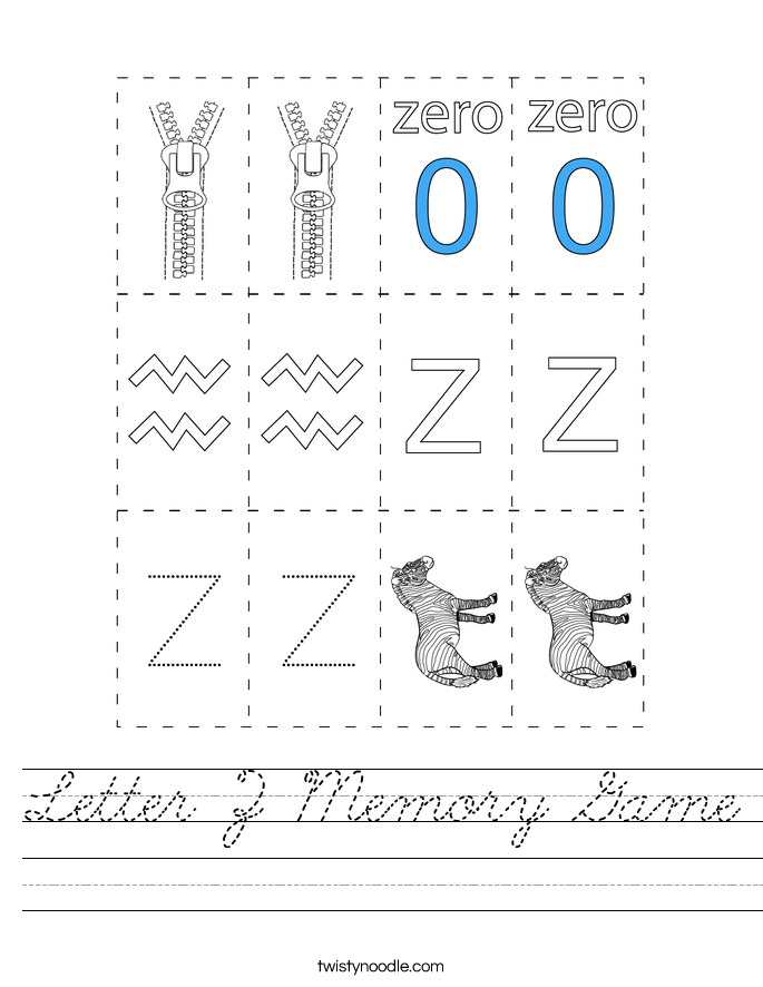 Letter Z Memory Game Worksheet