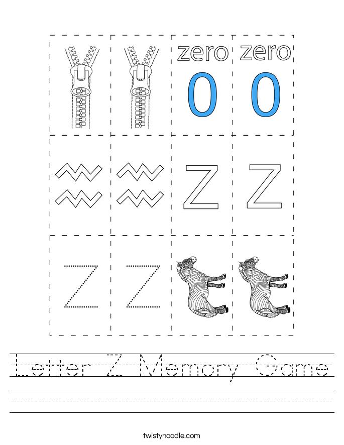 Letter Z Memory Game Worksheet