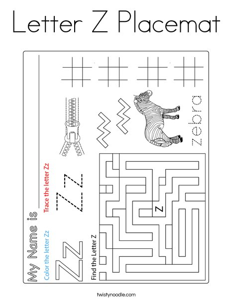 Letter Z Placemat Coloring Page