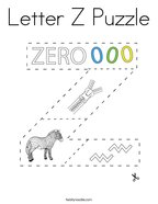 Letter Z Puzzle Coloring Page