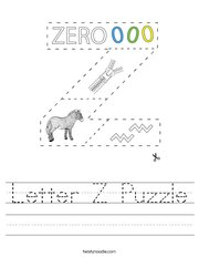 Letter Z Puzzle Handwriting Sheet
