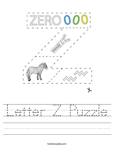 Letter Z Puzzle Worksheet