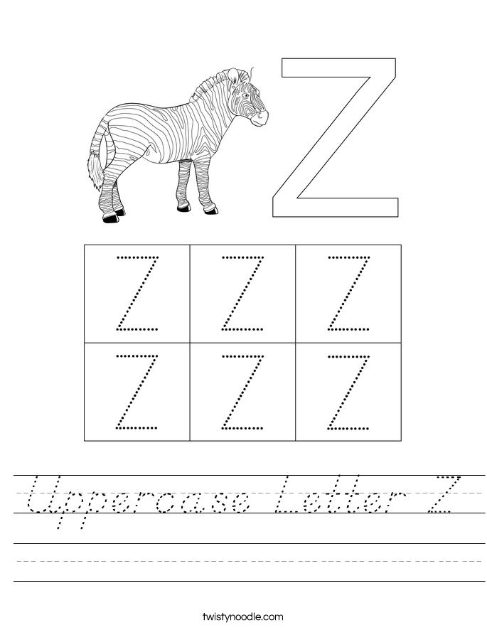 Uppercase Letter Z Worksheet