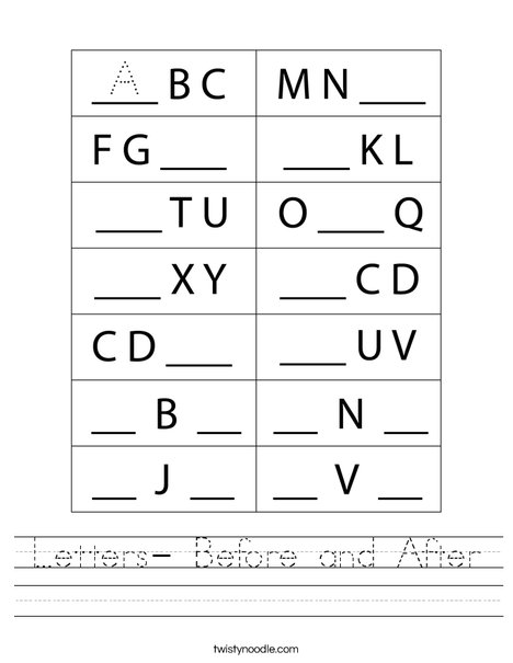 Letters- Before and After Worksheet