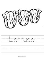 Lettuce Handwriting Sheet