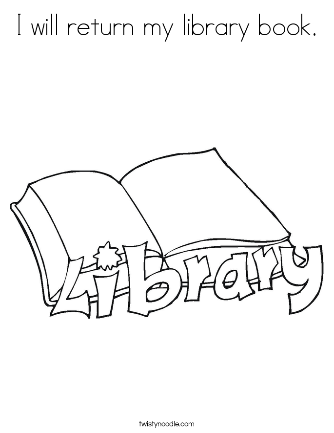 I will return my library book. Coloring Page