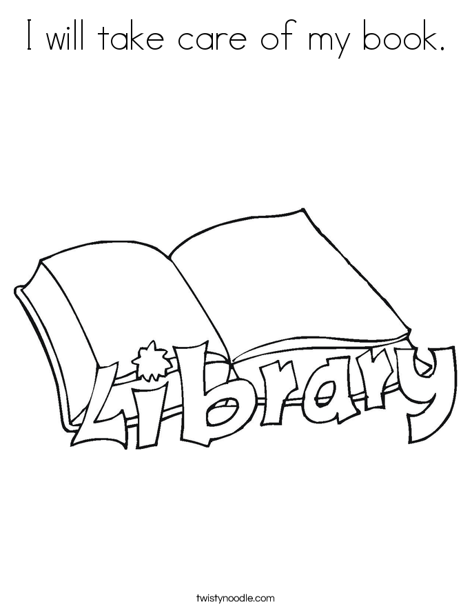 I will take care of my book. Coloring Page