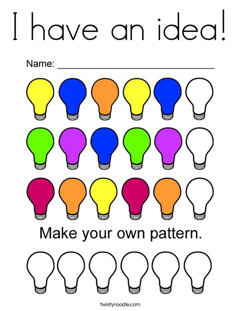 Lightbulb Pattern Coloring Page