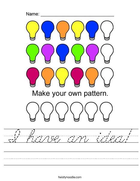 Lightbulb Pattern Worksheet