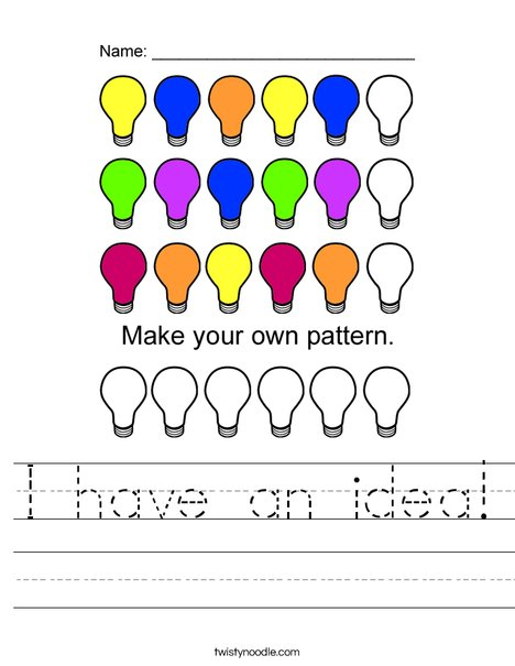 Lightbulb Pattern Worksheet
