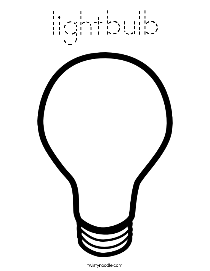 lightbulb Coloring Page Tracing