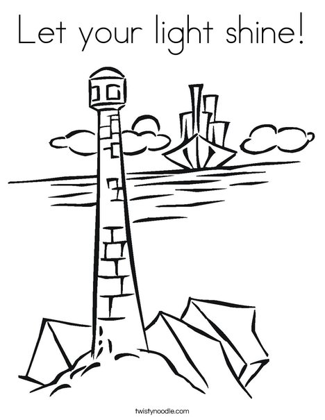 Lighthouse and Ship Coloring Page
