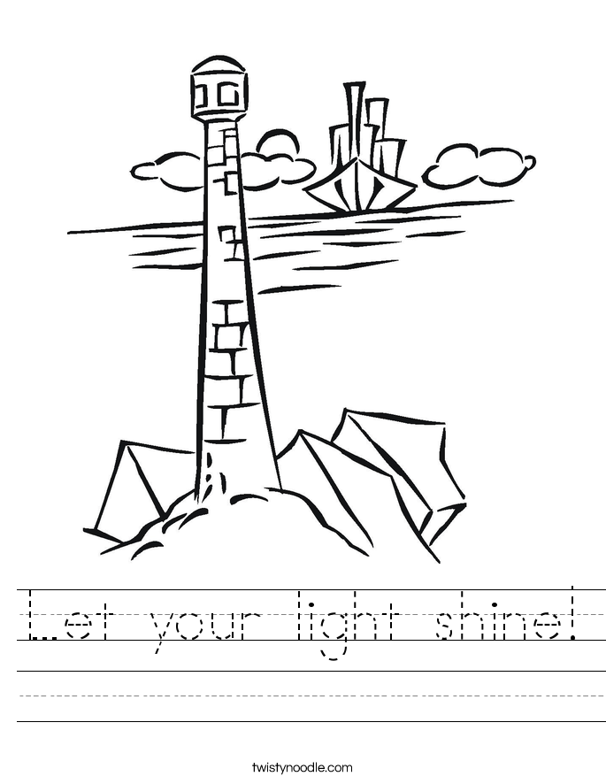 Printable Light Worksheets : Let your light shine worksheet twisty noodle
