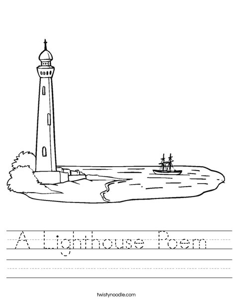 Lighthouse at Coastline Worksheet