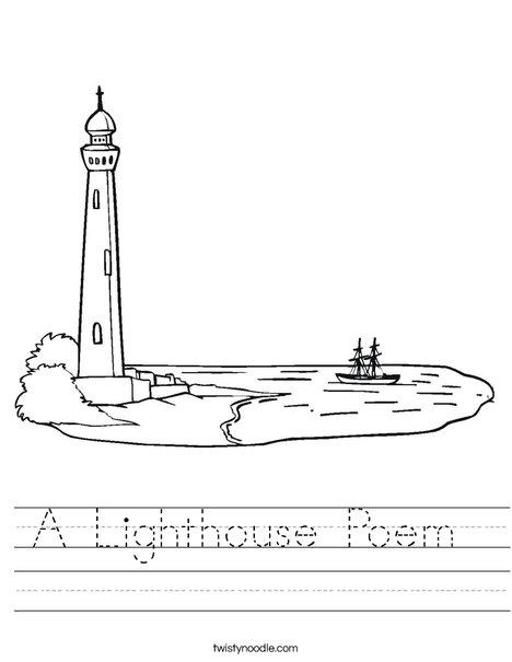 Lighthouse at Coastline Worksheet