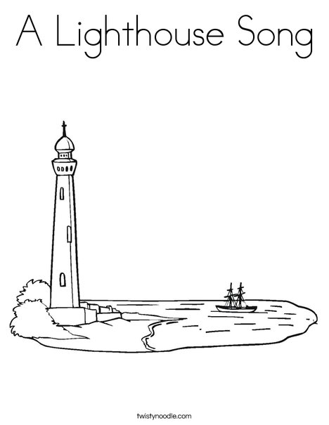 Lighthouse at Coastline Coloring Page