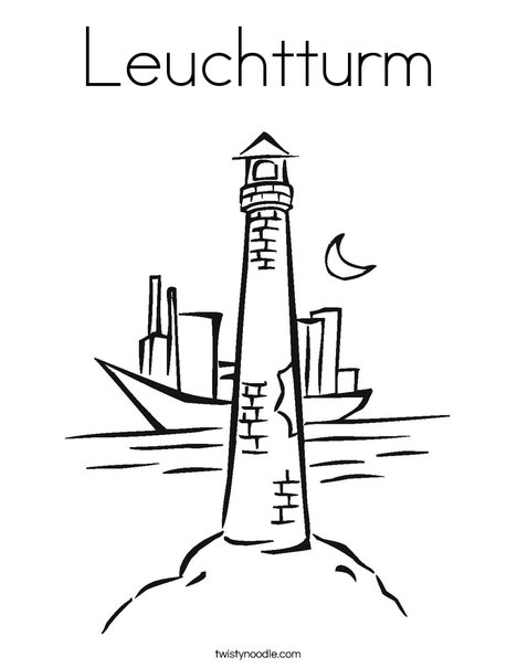 Lighthouse with Moon Coloring Page