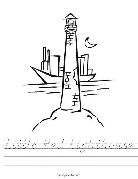 Lighthouse with Moon Worksheet