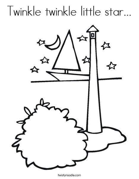 Lighthouse with Stars Coloring Page
