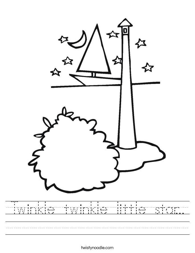Twinkle Twinkle Little Star Worksheet Twisty Noodle