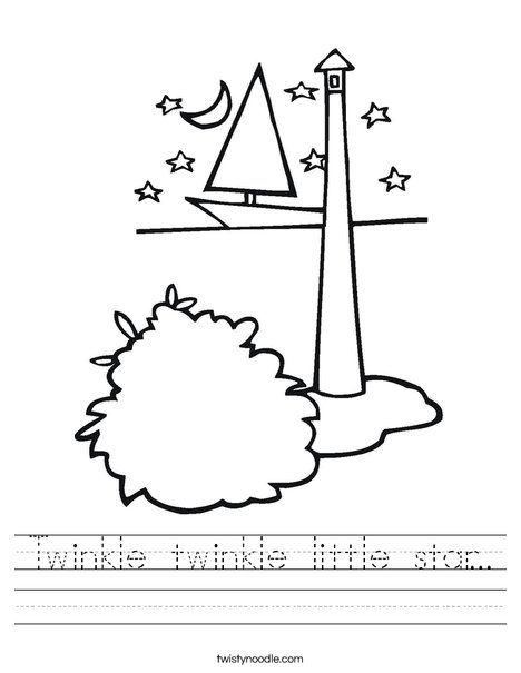 Lighthouse with Stars Worksheet