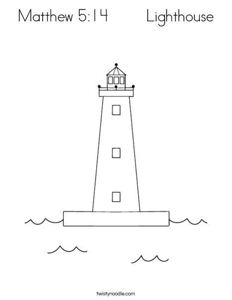 Matthew 5:14 Lighthouse Coloring Page - Twisty Noodle