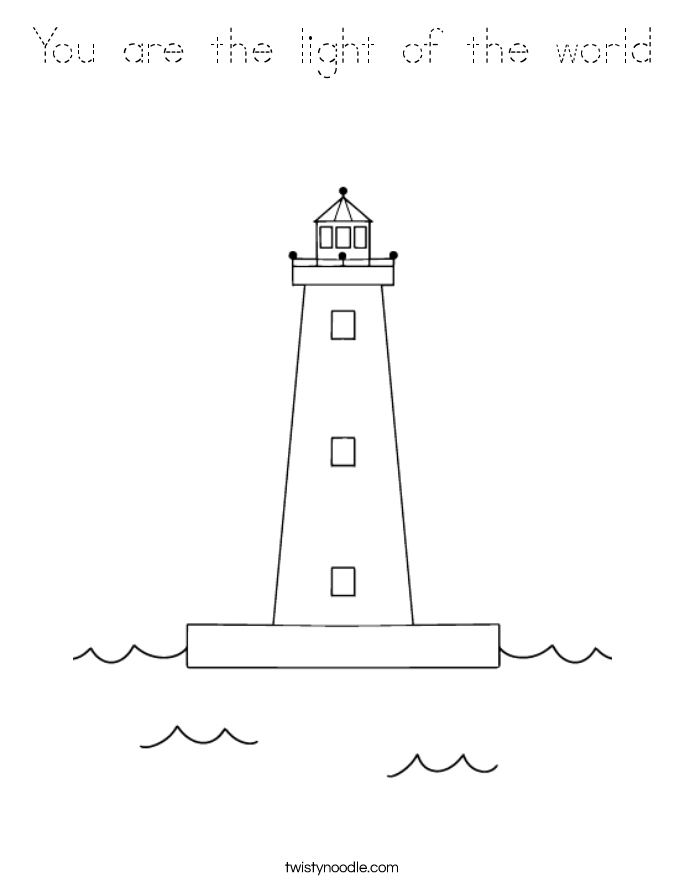 You are the light of the world coloring page tracing for Light of the world coloring pages