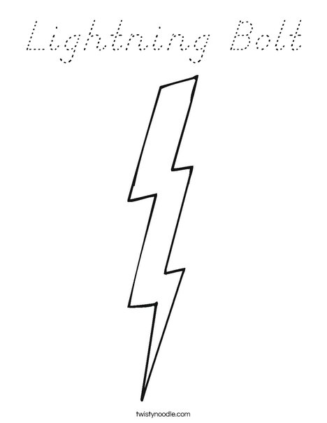 lightning bolt coloring pages | Lightning Bolt Coloring Page - D'Nealian - Twisty Noodle
