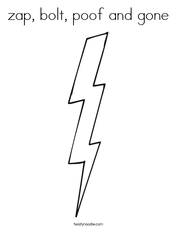 zap, bolt, poof and gone Coloring Page