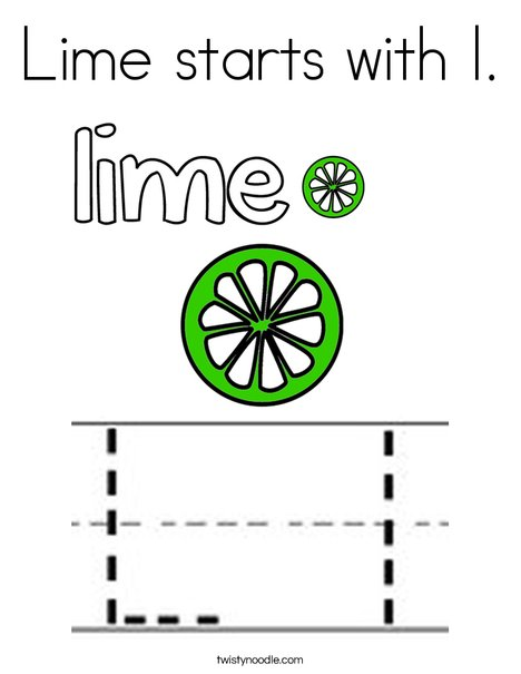 Lime starts with l Coloring Page Twisty Noodle