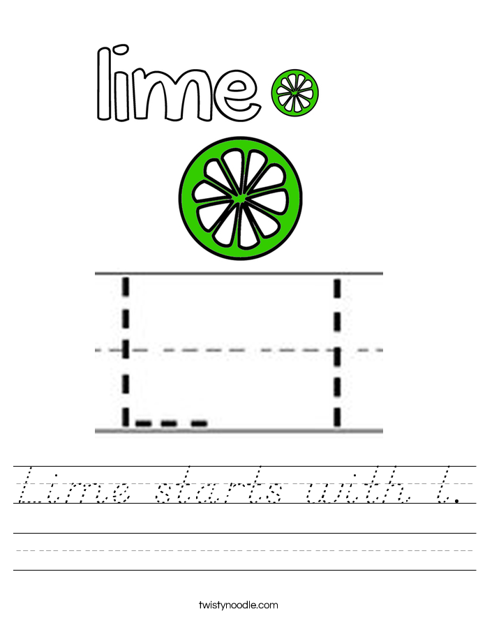 Lime starts with l. Worksheet