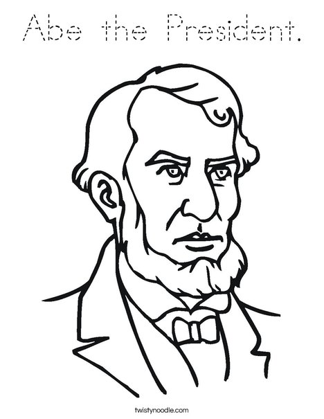 Abe the President Coloring Page - Tracing - Twisty Noodle