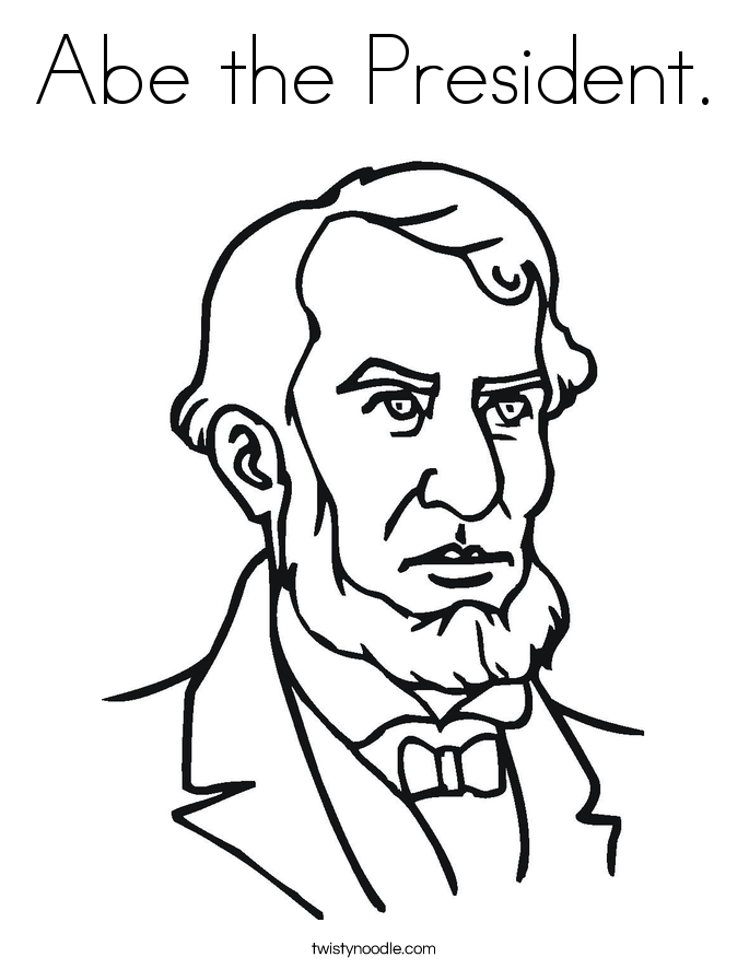 Abe the president coloring page twisty noodle for Twisty noodle coloring pages