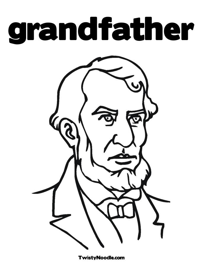 Free Coloring Pages Of Grandfather With A Cake