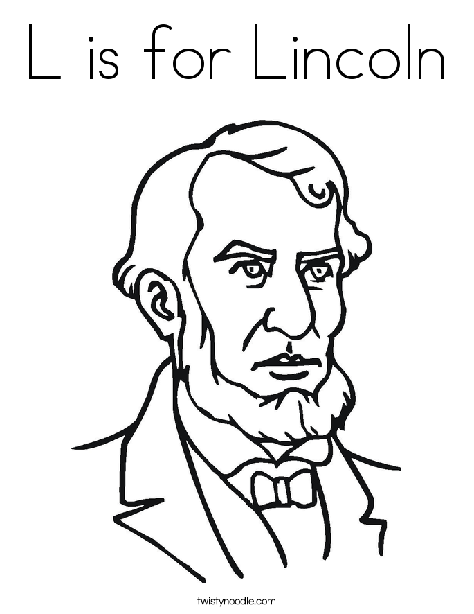 L is for Lincoln Coloring Page