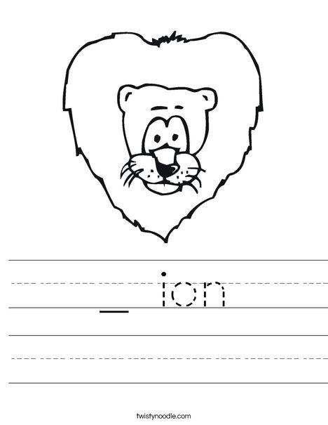 Cartoon Lion Worksheet
