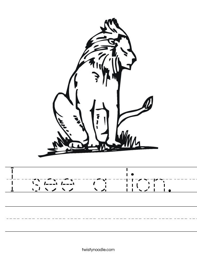 I see a lion.  Worksheet
