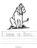 I see a lion  Handwriting Sheet