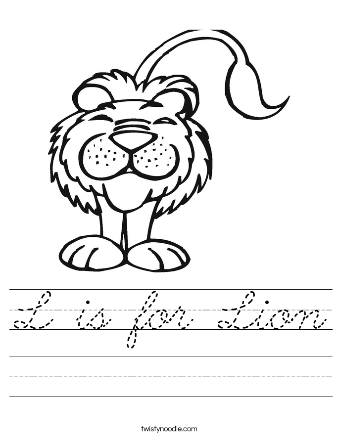 L is for Lion Worksheet