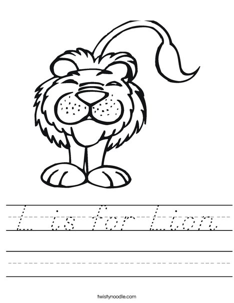 L is for Lion Worksheet