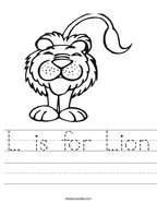 L is for Lion Handwriting Sheet