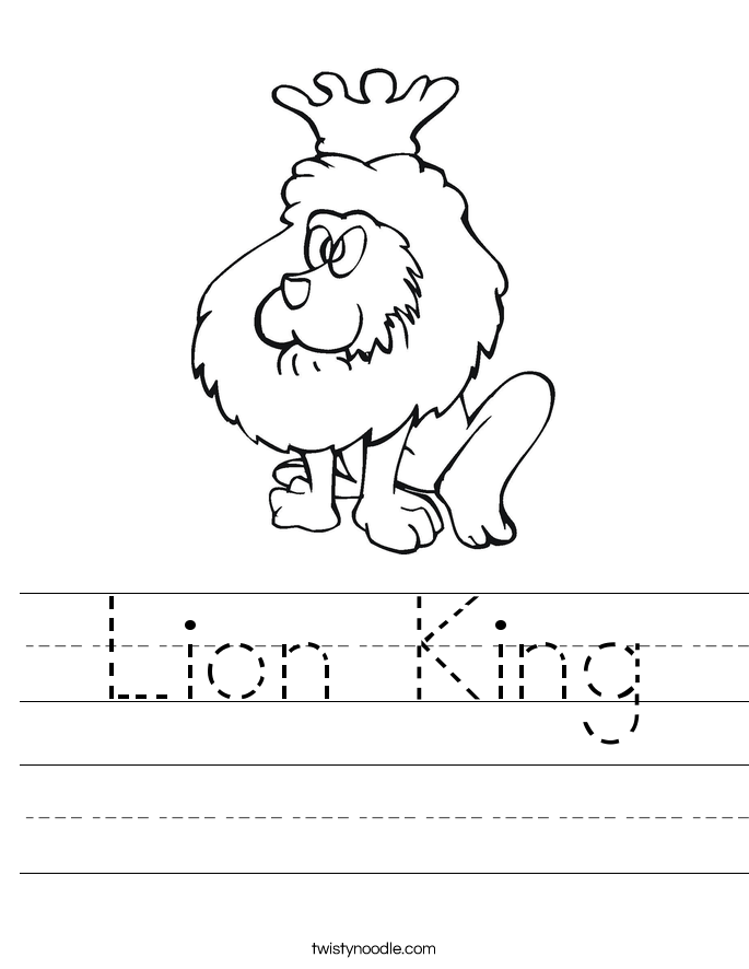 Lion King Worksheet - Twisty Noodle