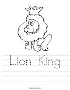 Lion King Handwriting Sheet