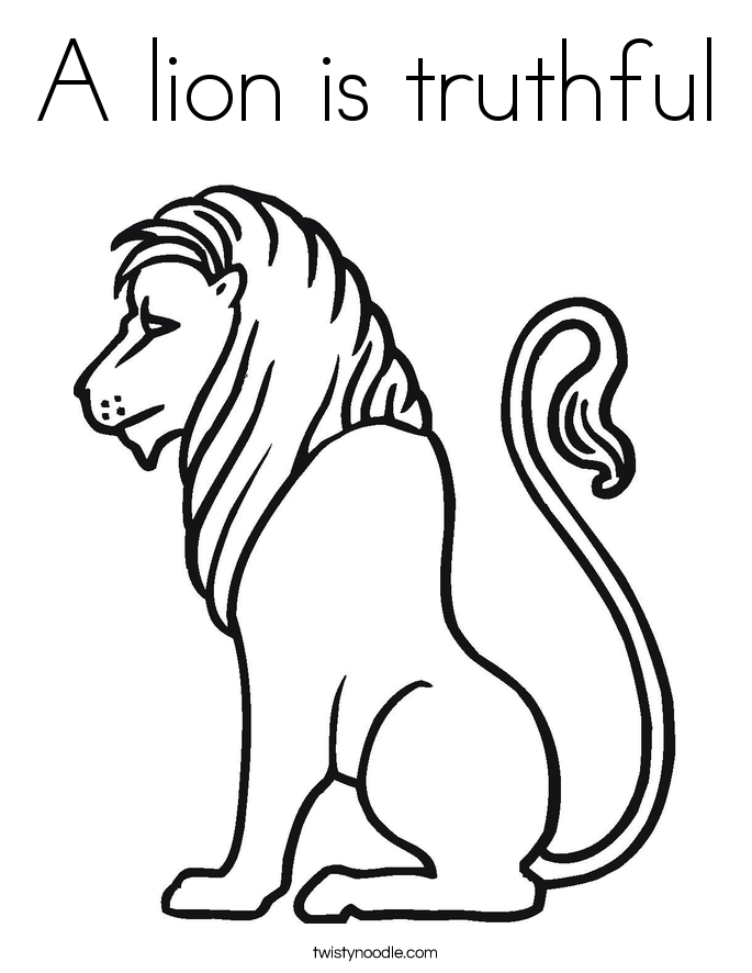 A lion is truthful Coloring Page