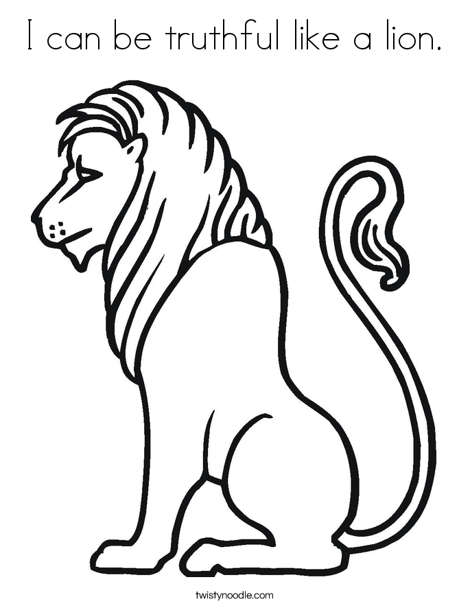 I Can Be Truthful Like A Lion. Coloring Page.