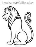 I can be truthful like a lion.Coloring Page