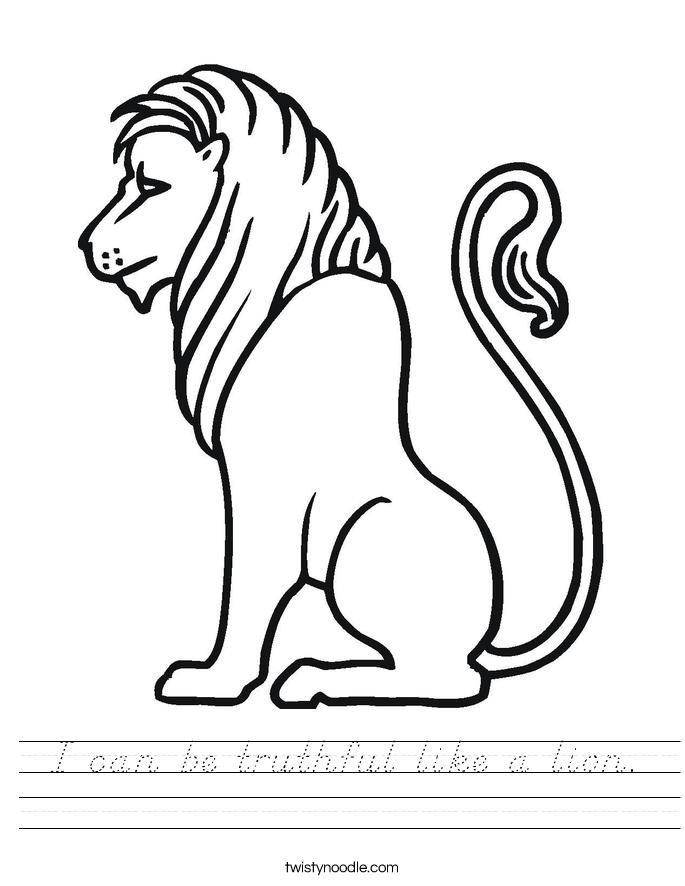I can be truthful like a lion. Worksheet