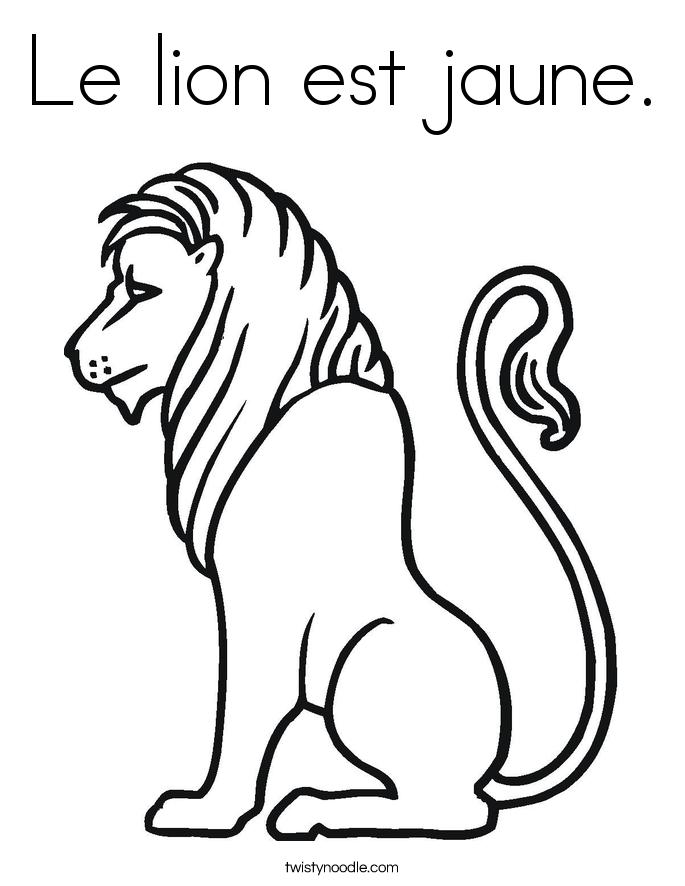 Le lion est jaune. Coloring Page