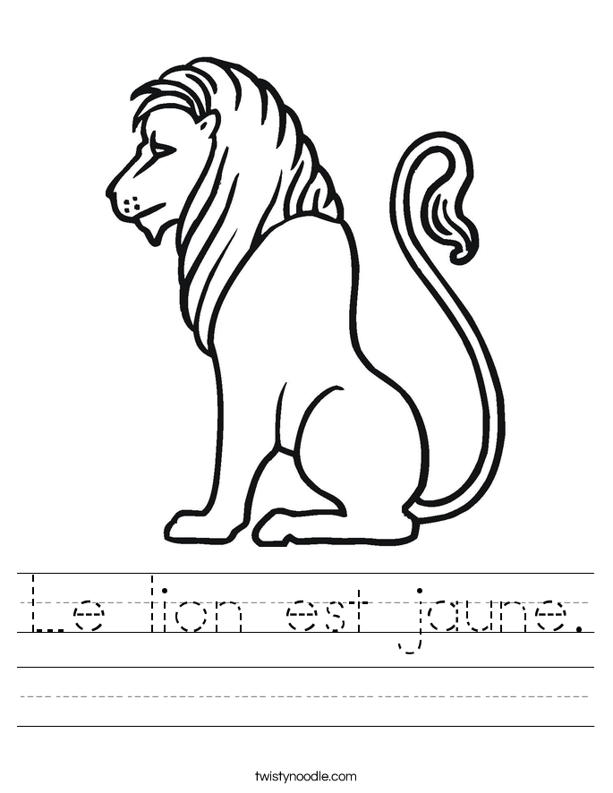 Le lion est jaune. Worksheet